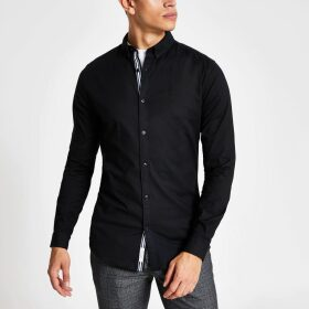 Mens River Island Black muscle fit long sleeve Oxford shirt