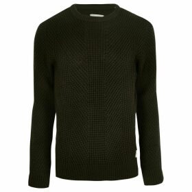 Mens River Island Jack and Jones dark Green knit jumper