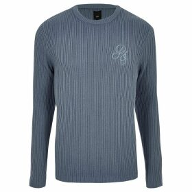Mens River Island Light Blue muscle fit rib crew neck jumper