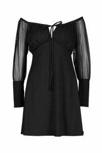 Womens Gypsy Skater Dress With Mesh Sleeves And Deep Cuff - black - 14, Black