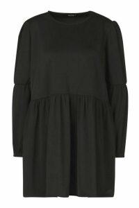 Womens Petite Volume Sleeve Smock Dress - black - 8, Black