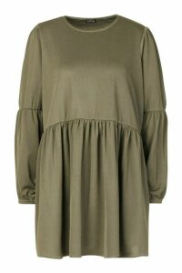 Womens Petite Volume Sleeve Smock Dress - green - 14, Green