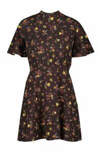 Womens Floral Tie Neck Curved Hem Skater Dress - Black - 14, Black