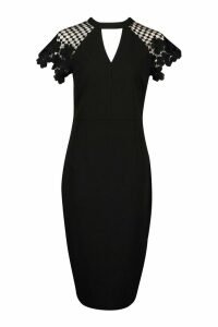 Womens High Neck Flared Sleeve Lace Top Midi Dress - Black - 14, Black