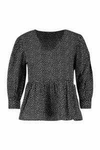 Womens Petite Mini Polka Dot Volume Sleeve Smock Top - Black - 6, Black