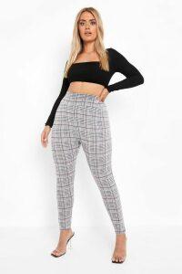 Womens PLus Checked Knitted High Waist Legging - grey - 20, Grey