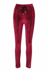 Womens Velour Cord Effect Jogger With Pocket Detail - Red - M/L, Red