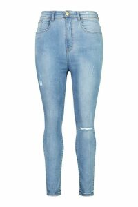 Womens Plus Washed Distressed High Waist Skinny Jeans - Blue - 20, Blue
