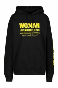 Womens Woman A/W Oversized Hoodie - black - S, Black