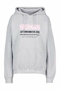 Womens Woman A/W Oversized Hoodie - grey - M, Grey