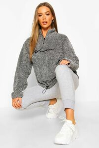 Womens Half Zip Woman Embroidered Fleece Hoodie - grey - 12, Grey