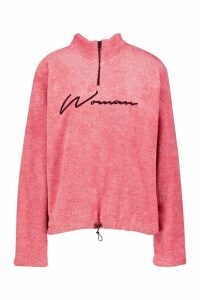 Womens Half Zip Woman Embroidered Fleece Hoodie - Pink - 16, Pink