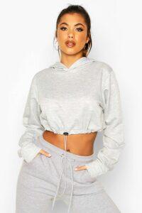 Womens Drawcord Cropped Hoodie - grey - 12, Grey