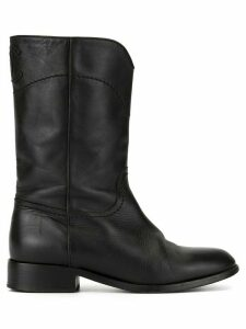Chanel Pre-Owned CC patch leather boots - Black