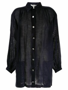 Chanel Pre-Owned linen relaxed shirt - Blue