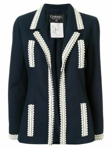 Chanel Pre-Owned jacquard stripe open jacket - Blue
