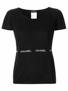 Chanel Pre-Owned striped logo detail T-shirt - Black