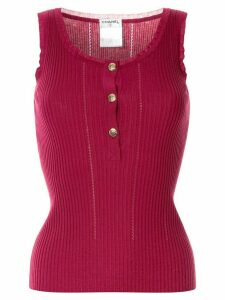 Chanel Pre-Owned knitted ribbed tank top - Red