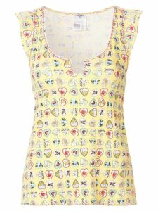 Chanel Pre-Owned Valentine frilled sleeveless blouse - Yellow