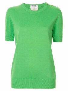 Chanel Pre-Owned buttoned shoulder knitted T-shirt - Green