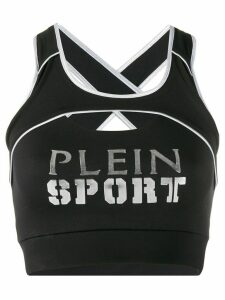 Plein Sport logo print cropped top - Black