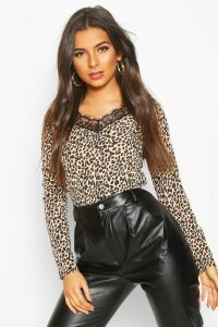 Womens Leopard Ribbed Lace Hem Long Sleeve Top - brown - 16, Brown