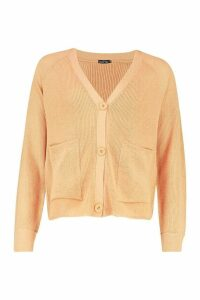 Womens Ribbed Pocket Detail Cardigan - beige - M, Beige