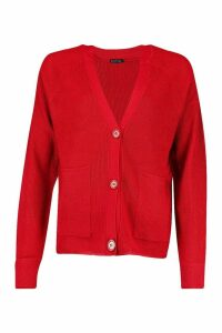Womens Ribbed Pocket Detail Cardigan - red - M, Red