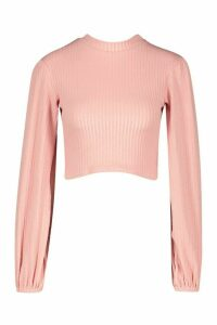 Womens Textured Rib Puff Sleeve High Neck Top - Pink - 16, Pink