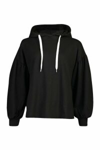 Womens Oversized Puff Sleeve Hooded Sweat Top - black - 12, Black