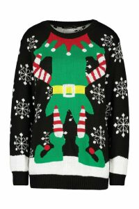 Womens Christmas Mrs Elf Jumper - black - M, Black