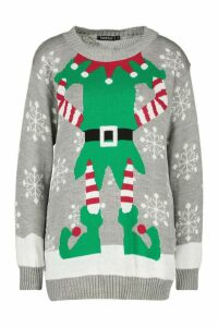 Womens Christmas Mrs Elf Jumper - grey - L, Grey