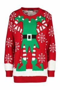 Womens Christmas Mrs Elf Jumper - red - M, Red