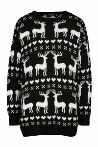 Womens Christmas Reindeer Fairisle Jumper - black - L, Black