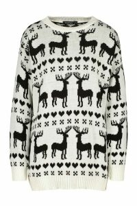 Womens Christmas Reindeer Fairisle Jumper - white - M, White