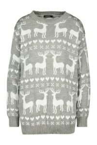 Womens Christmas Reindeer Fairisle Jumper - grey - L, Grey