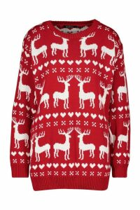 Womens Christmas Reindeer Fairisle Jumper - red - M, Red