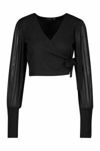 Womens Petite Mesh Puff Sleeve Ribbed Wrap Top - black - 8, Black