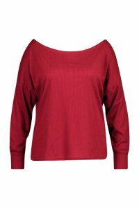 Womens Plus Ribbed Oversized Longsleeve T-Shirt - red - 16, Red