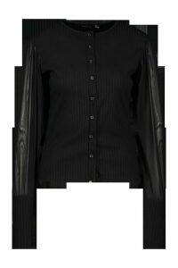 Womens Petite Organza Puff Sleeve Button Through Cardigan - Black - 4, Black
