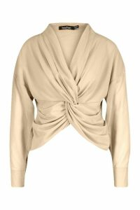 Womens Twist Front Woven Blouse - Beige - 12, Beige