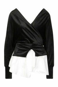 Womens Velvet Hybrid Shirt - black - M/L, Black