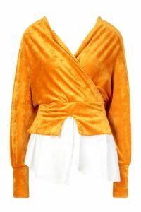 Womens Velvet Hybrid Shirt - yellow - M/L, Yellow