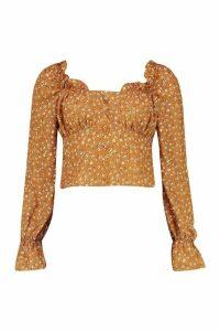 Womens Ditsy Floral Ruffle Flute Sleeve Woven Blouse - beige - 16, Beige