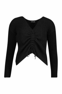 Ruched Front Knitted Jumper - black - M, Black