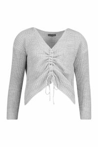 Womens Ruched Front Knitted Jumper - grey - S, Grey