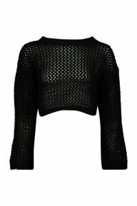 Womens Loose Knit Flare Sleeve Cropped Jumper - black - M/L, Black