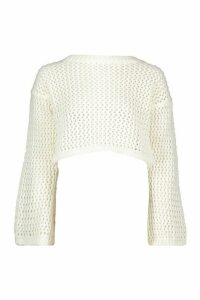 Loose Knit Flare Sleeve Cropped Jumper - white - S/M, White