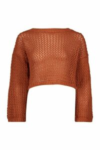 Loose Knit Flare Sleeve Cropped Jumper - brown - M/L, Brown