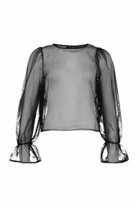 Womens Organza Mesh Blouse - black - 14, Black
